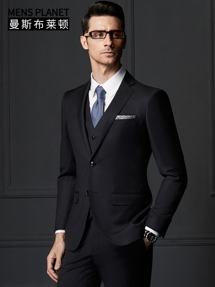 曼斯布萊頓 西裝男套裝商務男士羊毛西裝新郎藏藍西服套裝D745011