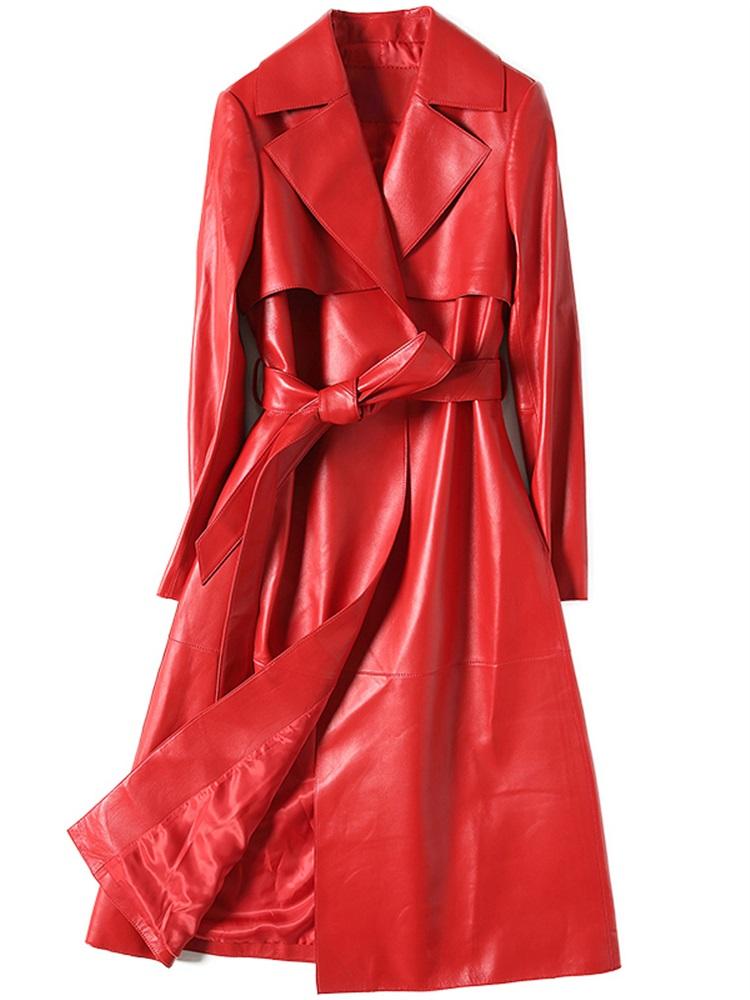 憨厚皇后 2018春季新款時尚系帶長款海寧真皮皮衣女士外套韓版70