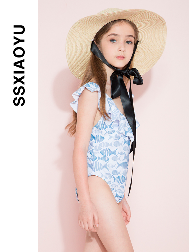 New girls' printed one-piece swimsuit in 2021