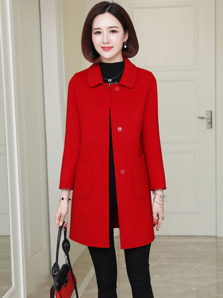 100% of the 2020 new double-sided wool coat female doll long high-end cultivate one's morality will show cashmere coat season