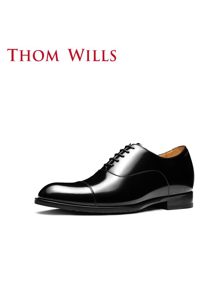 ThomWills男鞋秋季內增高鞋真皮牛津鞋男士商務正裝皮鞋新郎婚鞋