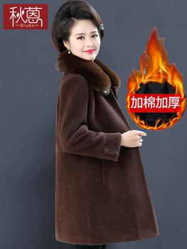 В пожилых женщины большие шерстяные одежда длина плюс хлопка 2019 новый осень зима мама норка пальто сгущаться, цена 3547 руб