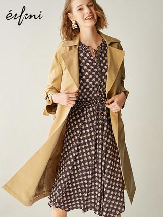 伊芙丽2019春装新款科技感光泽挺括面料 双排扣门襟 装饰袖袢风衣外套女