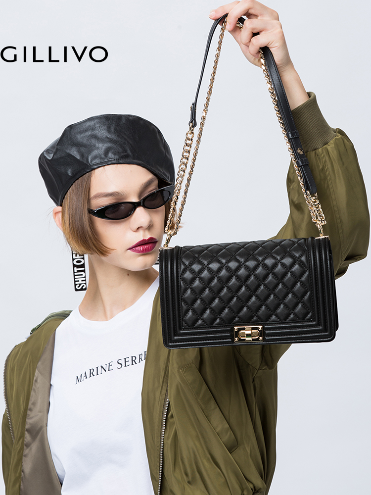 0f7eb696a5 Gillivo Jiali new leather wild female bag European and American fashion  single shoulder Messenger bag rhombic