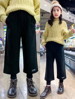Девочки брюки осень зима верхняя одежда западный стиль ребенок волосы частица для вопросительного предложения брюки в больших детей свободный девять очков прямо широкий брюки, цена 1244 руб