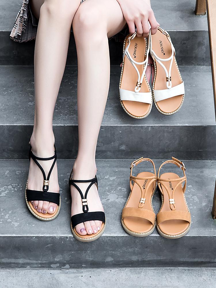 奥康 19年夏季新款 女式凉鞋 聚划算双重优惠折后¥79包邮 多色可选