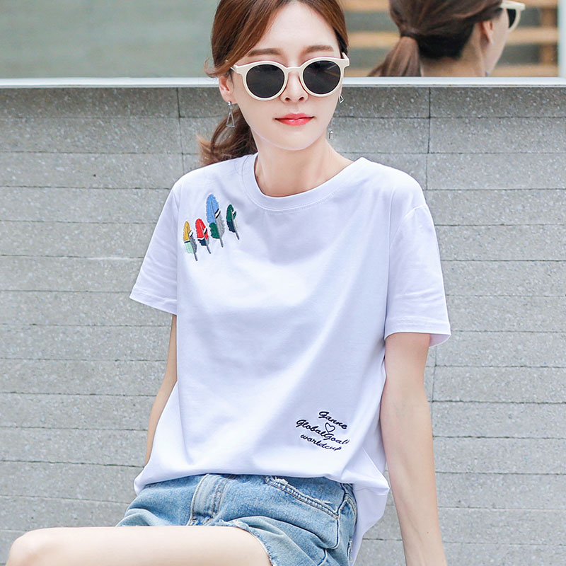 Pure cotton short-sleeved t-shirt womens white loose Korean half-sleeve womens spring summer 2021 new top
