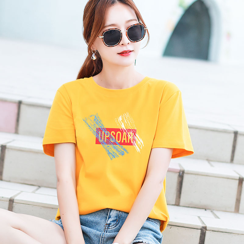 Pure cotton short-sleeved t-shirt womens loose Korean version yellow half-sleeve womens summer clothes 2021 new item clothes ins tide