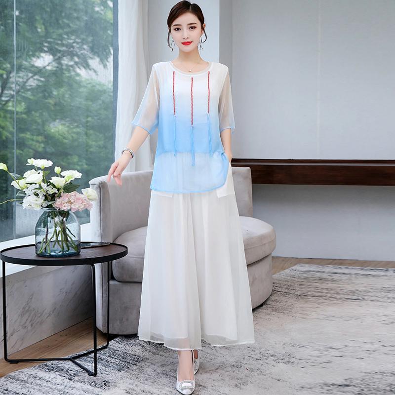 2019夏装女改良旗袍上衣阔腿裙裤中国风两件套装