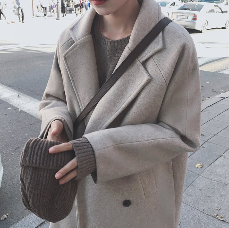 Cashmere coat Womens long 2020 autumn and winter new thickened Korean version loose Hepburn wind small fur coat