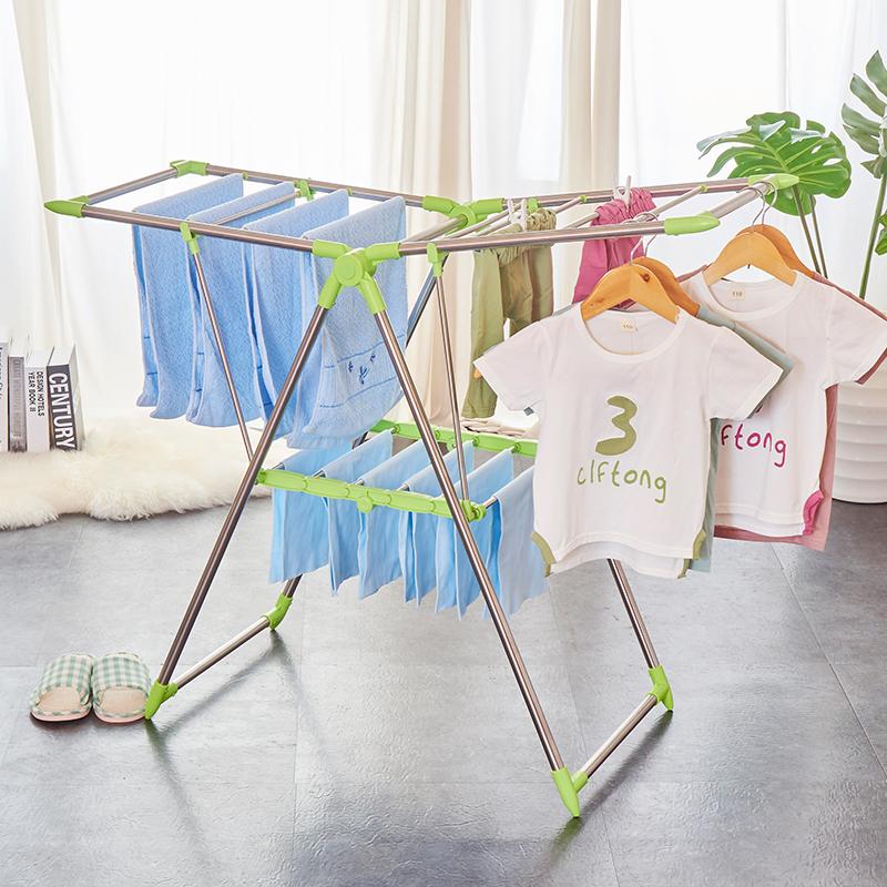 億佰佳落地折疊飄窗晾曬架嬰兒尿布架室內室外粉色家居陽臺晾衣架