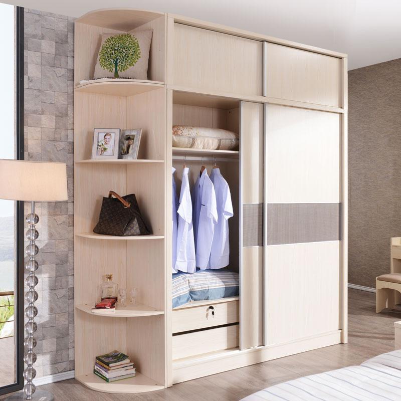 衣柜推拉门衣橱简约整体组合大衣柜卧室衣橱趟门衣柜移门实木衣柜