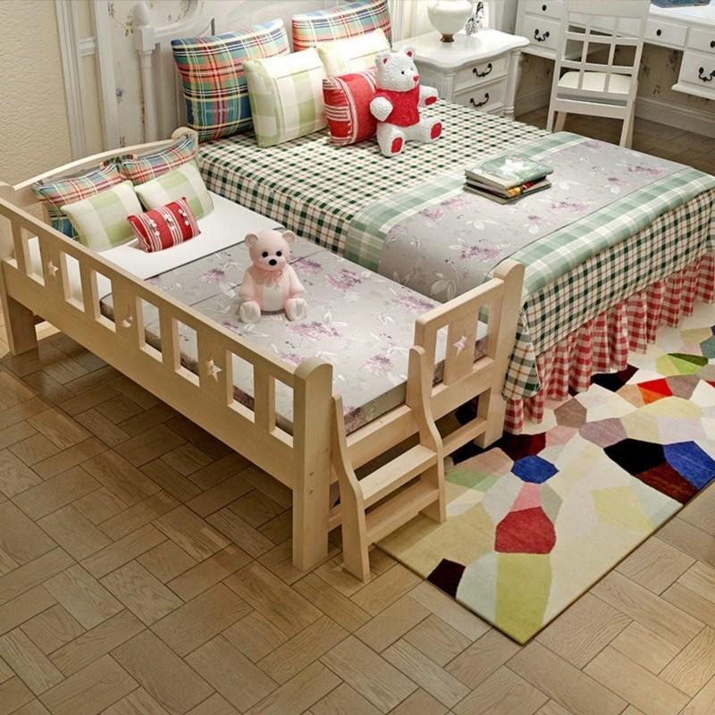 儿童床带护栏单人小孩实木男孩小床女孩公主小孩婴儿加宽床拼接床