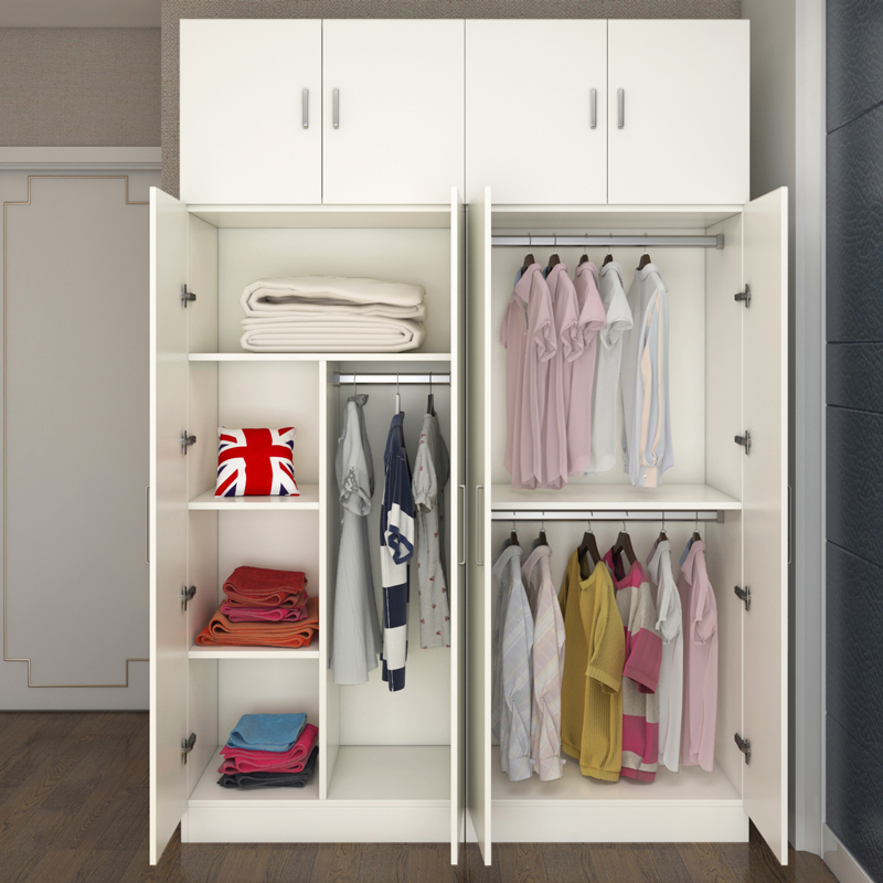简易衣柜实木质板式组合衣柜整体3门4门5门衣柜儿童大衣柜