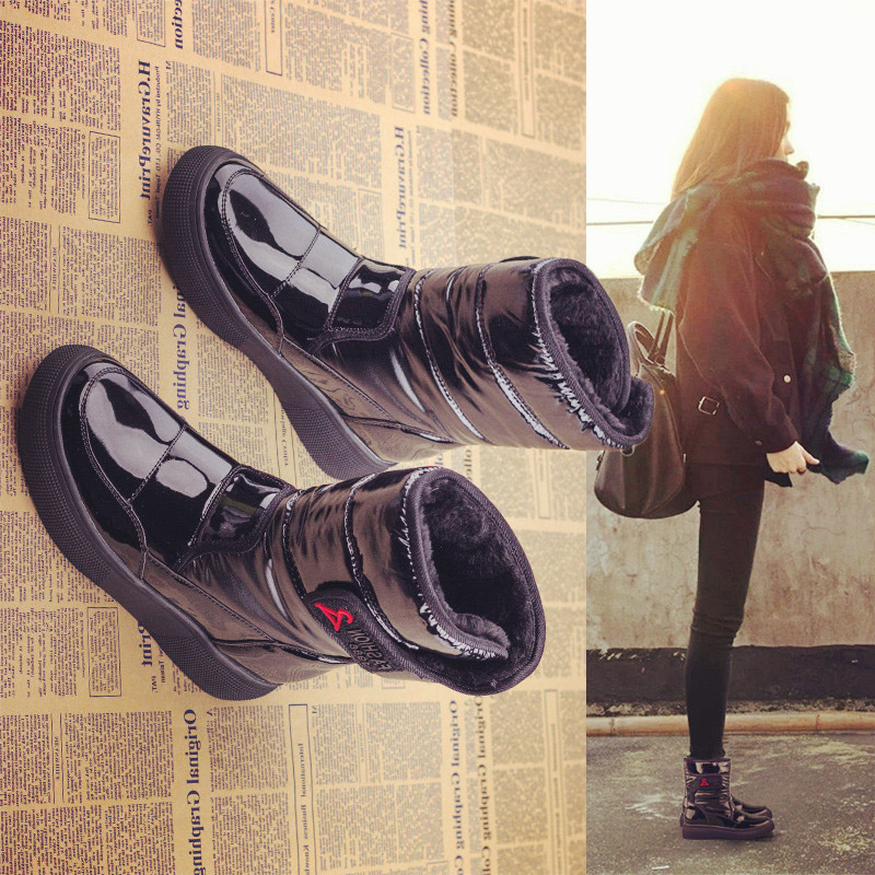 百搭女鞋毛短靴靴子雪地棉靴2019新款秋冬季加绒a女鞋短筒兔毛平底