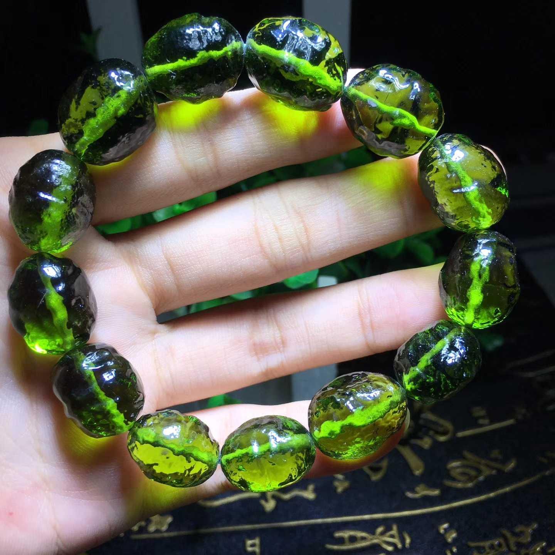 正品捷克新款陨石原石随行手串手链 可聚财辟邪绿陨石16mm大颗粒