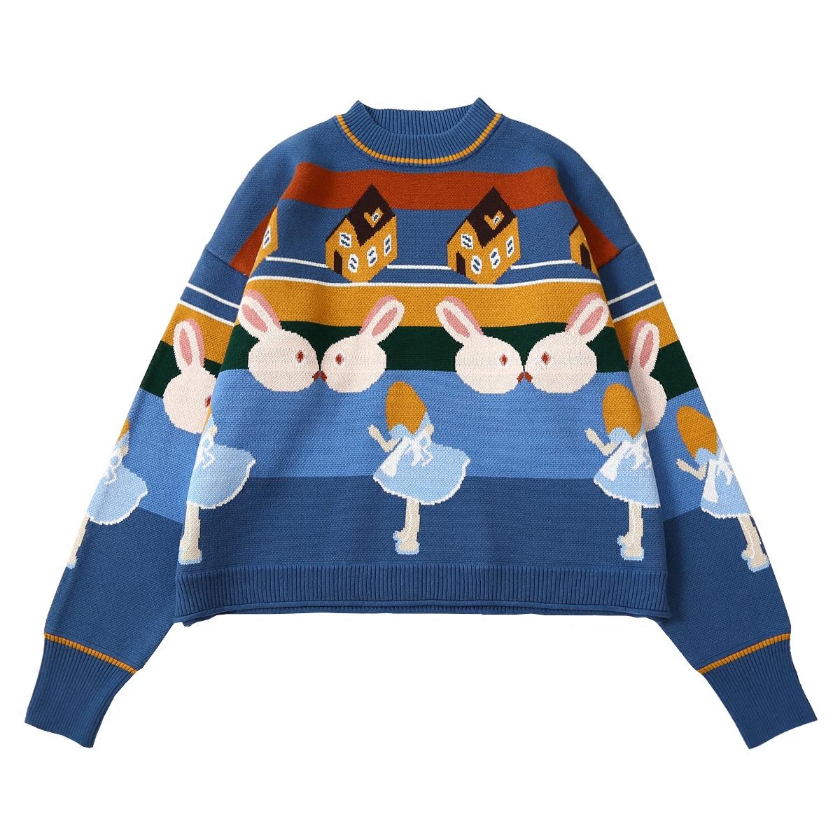 日系秋冬新款爱丽丝提花小高领可爱卡通兔子宽松百搭短款毛衣女