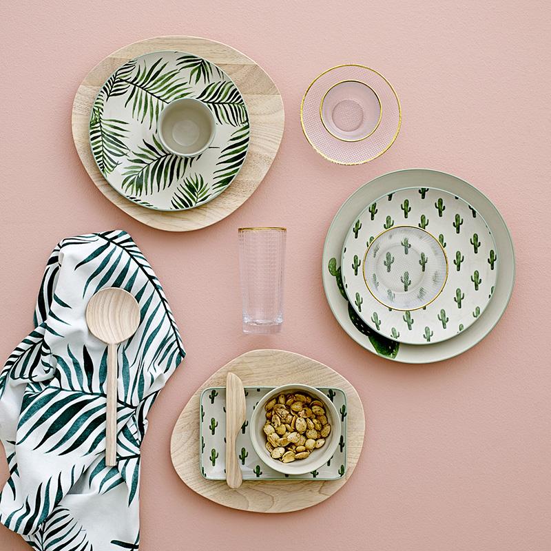 Spot the Danish import Bloomingville cactus Palm leaf print ceramic dish bowl home tableware  sc 1 st  English Taobao | Taobao Agent & USD 21.79] Spot the Danish import Bloomingville cactus Palm leaf ...