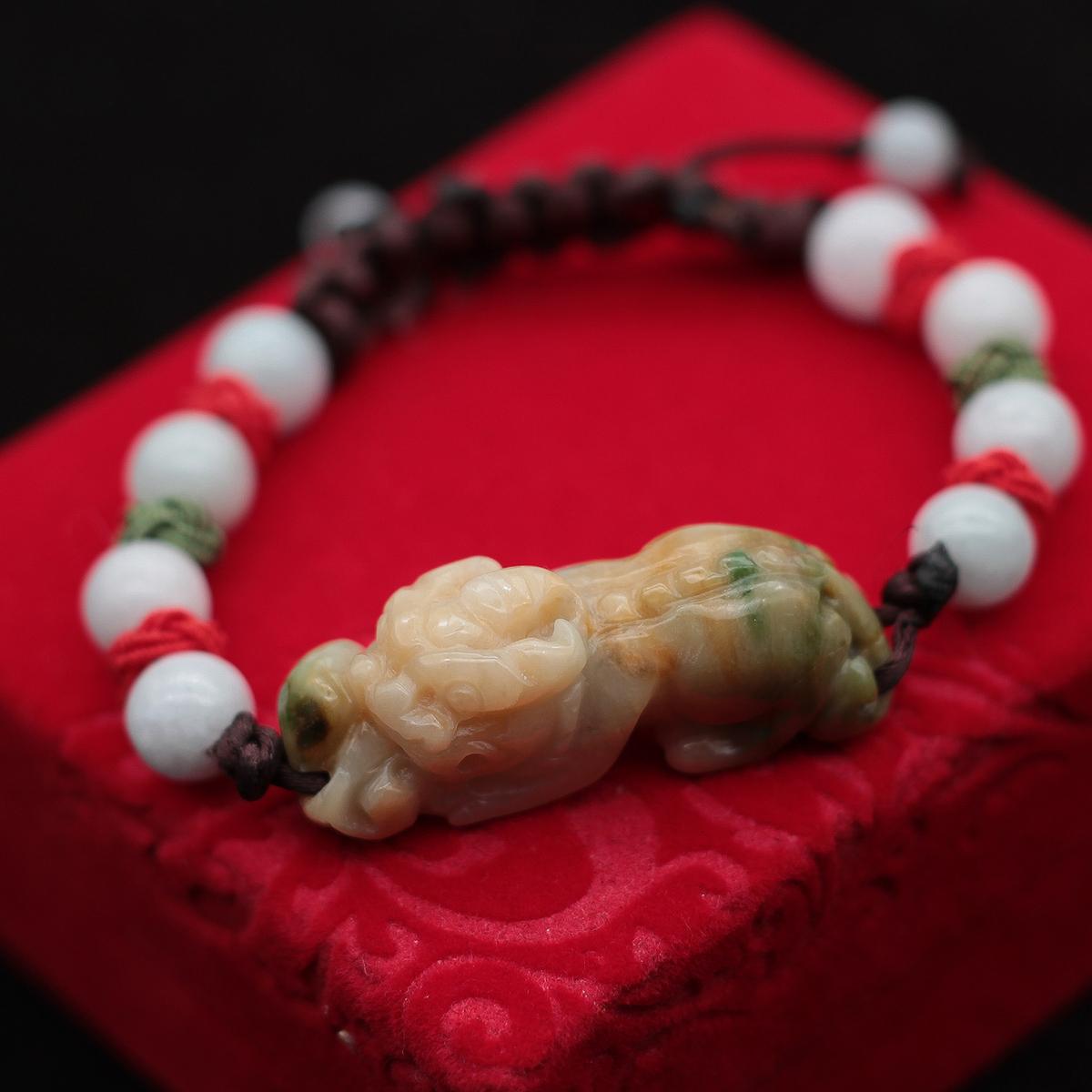玉器缅甸貔貅天然A货翡翠糯种黄翡飘绿如意招财特价手牌链包邮