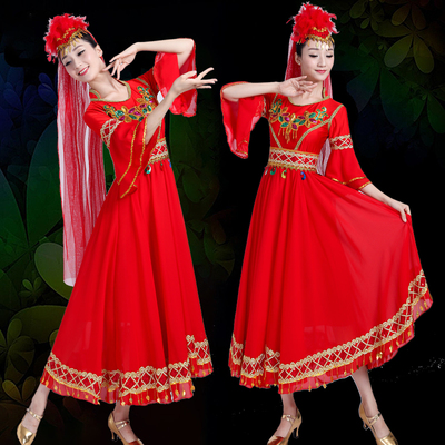 Folk Dance Costumes performance costume ethnic minority Uygur stage performance costume Xinjiang big dress long skirt girl
