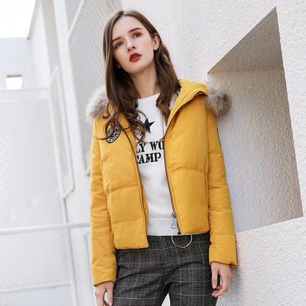简朵2019冬季新款百搭气质减龄毛领白鸭绒90绒羽绒服女外套J75123