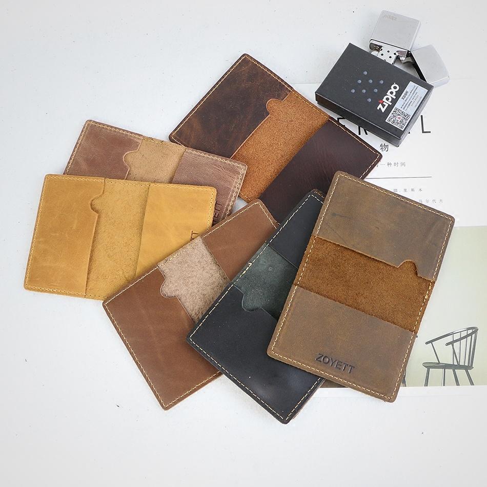 Pipi bò nam gốc thẻ túi siêu mỏng retro da bò điên ngựa thẻ ID chủ thẻ - Chủ thẻ
