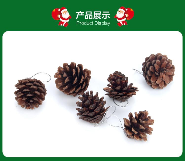 天然原色松果 聖誕樹裝飾掛件聖誕節裝飾品擺件拍攝道具6個裝1包