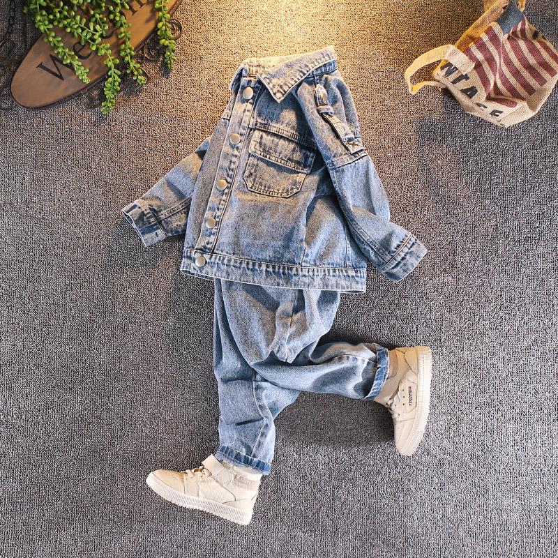 牛仔服夹克衫童装身高靓仔套装90-100-110-120-130码左右男孩长裤