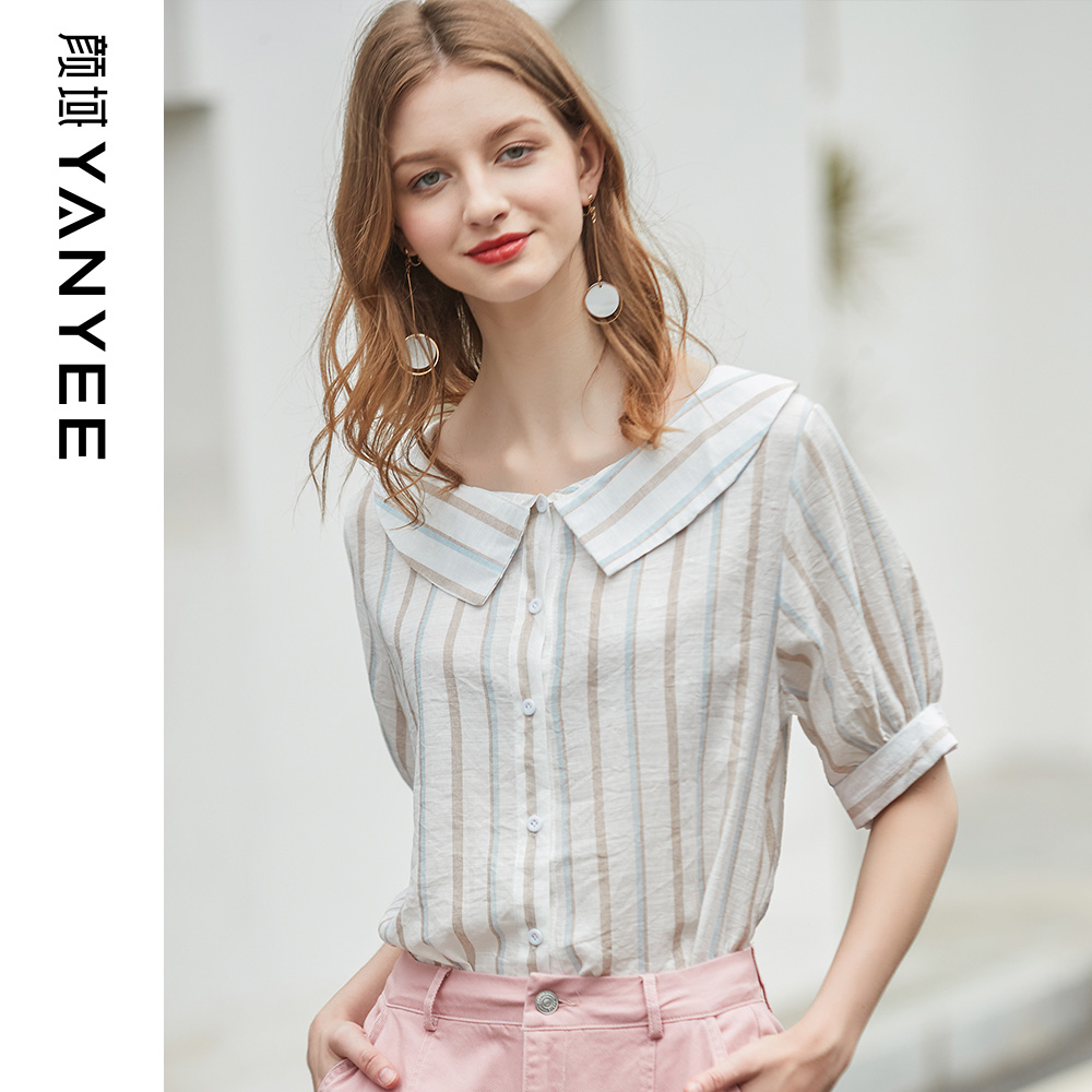 Yan domain women's summer 2019 new European and American casual loose doll collar five-point sleeve temperament shirt striped shirt
