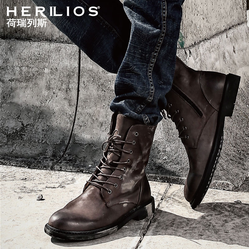 马丁靴皮靴男潮英伦靴子夏季高帮沙漠工装加绒真皮靴复古男鞋军靴