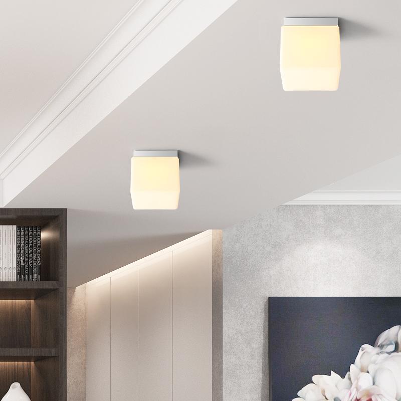 走廊灯过道灯现代简约创意个性玄关灯具衣帽间灯正方形玻璃吸顶灯