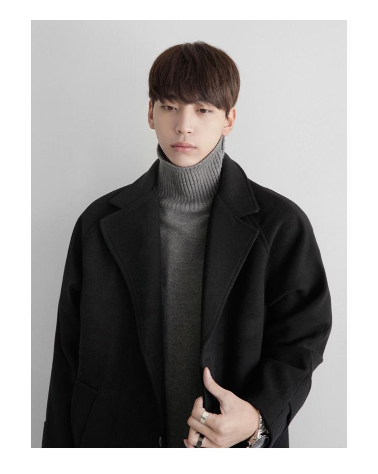 Áo khoác nam dài dày mùa đông áo len nam ifashion lỏng áo len áo khoác Hàn Quốc phiên bản của vai
