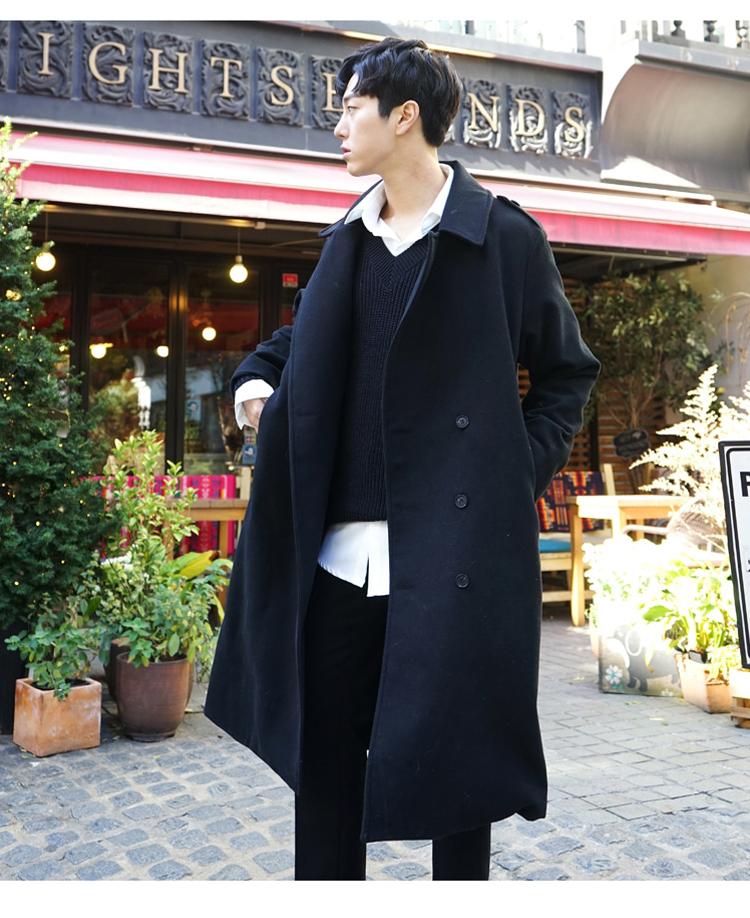 Áo khoác mùa đông mùa thu vai áo len nam giới thanh niên Hàn Quốc phần dài lỏng dày trên đầu gối áo len