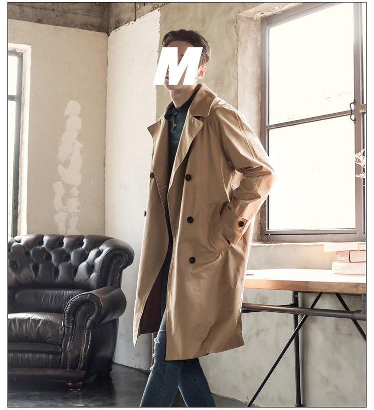 2018 mùa thu mới kaki áo gió dài retro nam giới thanh niên Hàn Quốc áo khoác đôi ngực áo