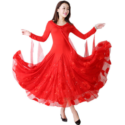 Women's Ballroom Dance Dresses Modern Skirt Competition Performance Skirt Waltz Dress National Standard Tango