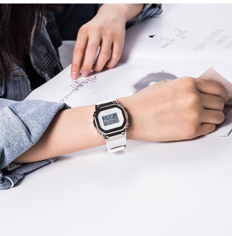 HG手錶代購~卡西歐G-SHOCK新款復古金屬防水小方塊手錶女GM-S5600PG-1/4 G-7