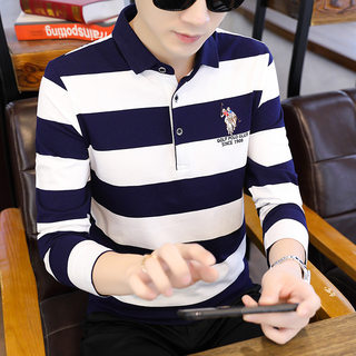 The men's long-sleeved t-shirt 0 new fall trend of men's cotton polo shirt bottoming of leisure clothes autumn body shirt