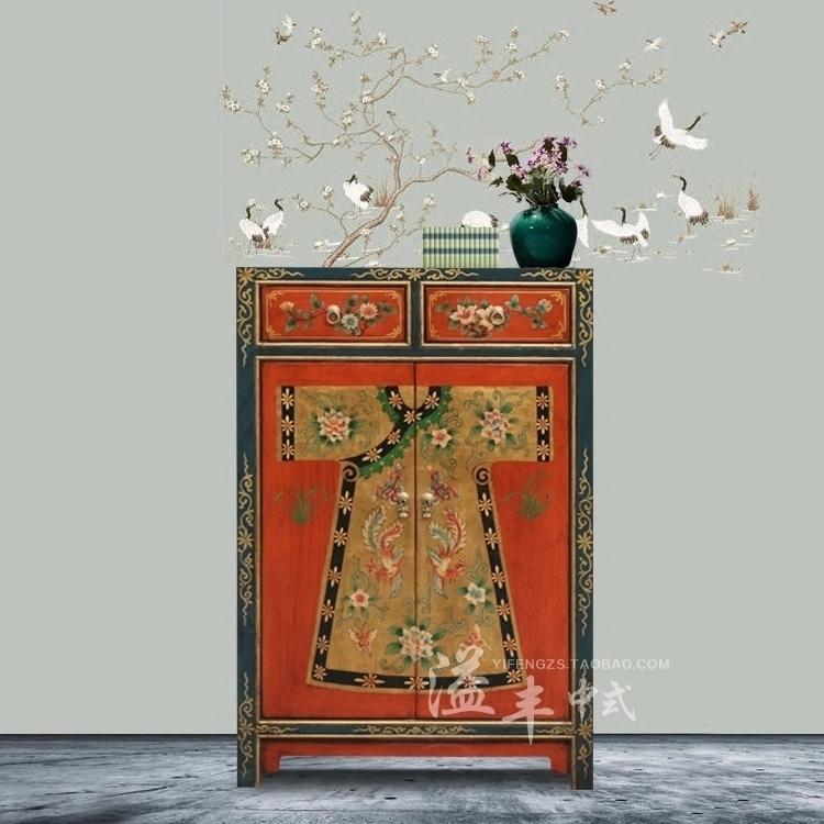 新中式仿古鞋柜实木对开门进门鞋柜复古彩绘客厅玄关隔断柜间厅柜