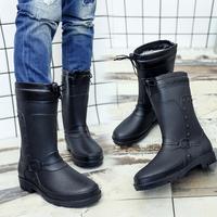 Водонепроницаемый Обувь дождь сапоги мужской замшевый осень-зима сезон хлопок Сапоги от дождя средние удерживающий тепло утепленный Резиновые туфли популярный Сапоги для взрослых
