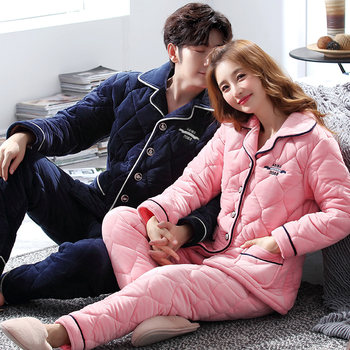 Quilted pajamas couple coral velvet female winter men plus thick velvet three thick tracksuit Dongkuan suit