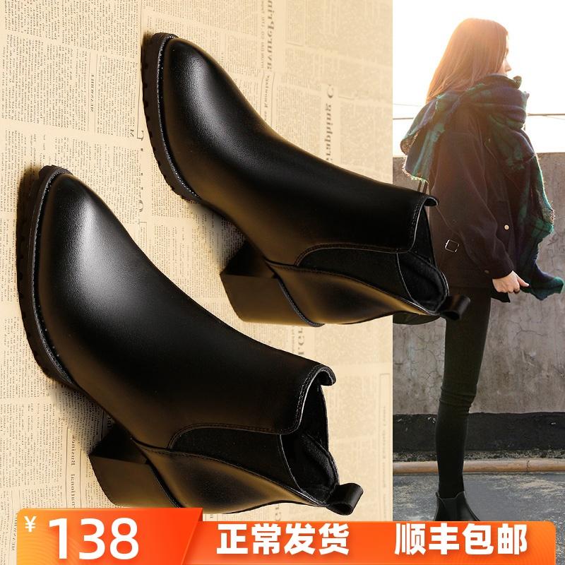 冬季尖头粗跟短靴女2019新款百搭中跟瘦瘦靴子高跟厚底马丁靴加绒