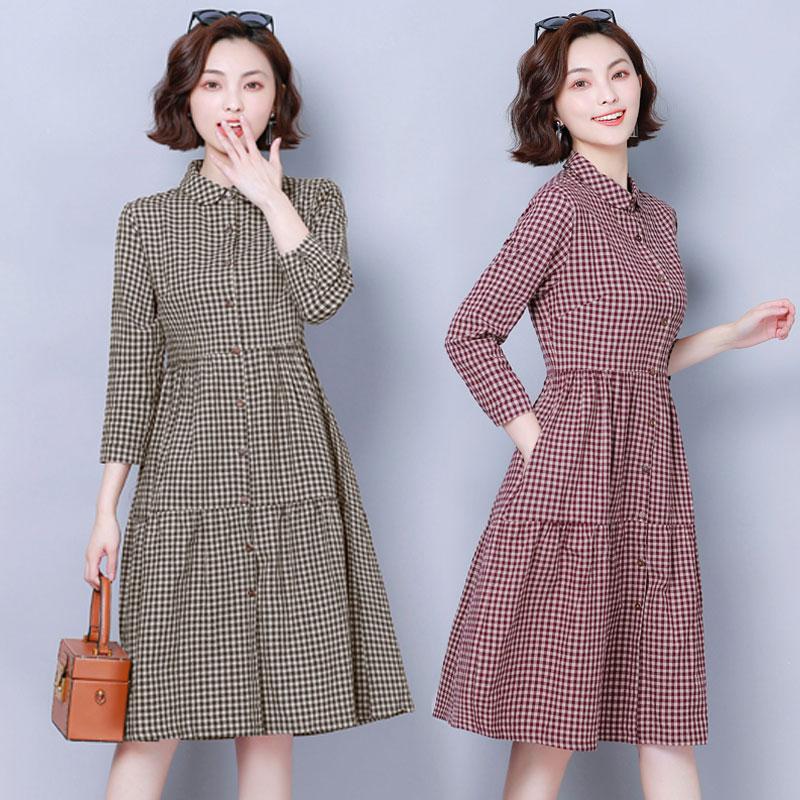 秋装适合胯大腿粗的裙子宽松大码棉麻衬衫裙胖女人遮肚显瘦连衣裙