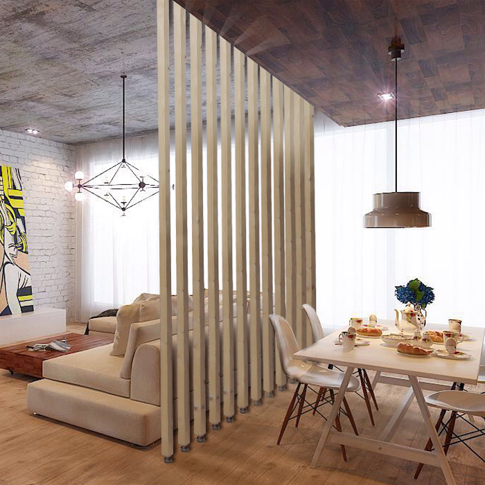 Screen Partition Wood Living Room High Partition Simple Fashion New Chinese  Seat Screen Easy To Install Solid Wood Vertical Strip Wood Color