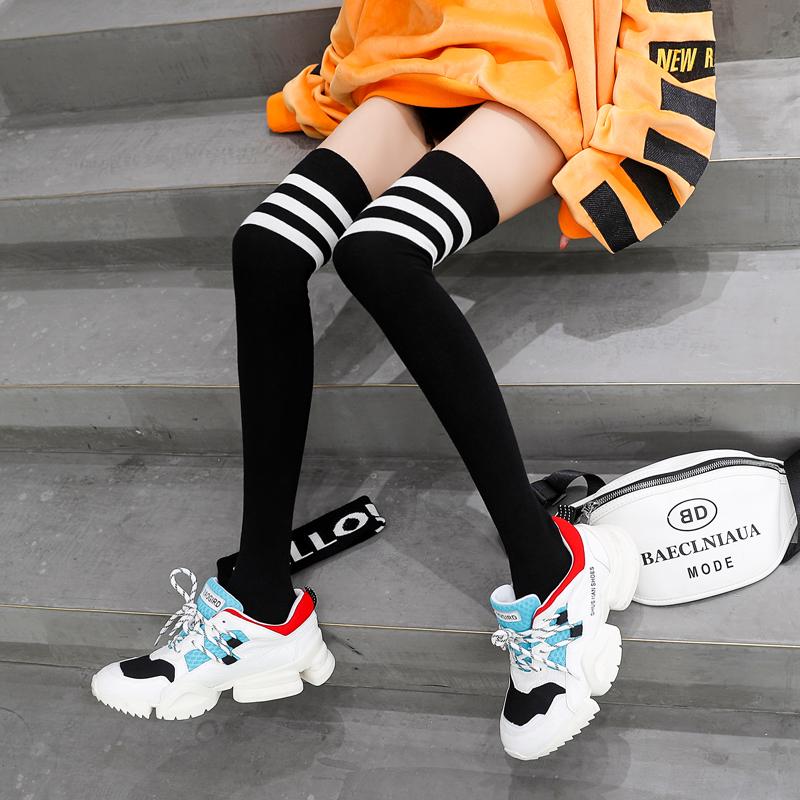 长筒袜子女过膝高筒ins街头潮薄款秋季黑色中筒小腿袜jk秋冬纯棉,免费领取3元淘宝优惠卷