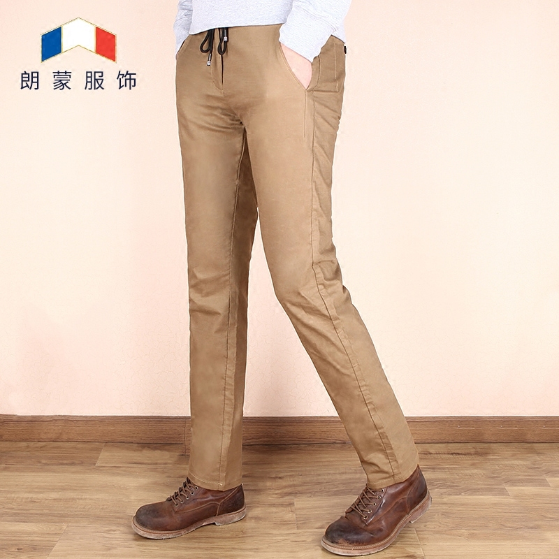 Langmong 2018 spring new Korean version of the Khmer tether khaki men's pants casual pants men straight slim pants trousers