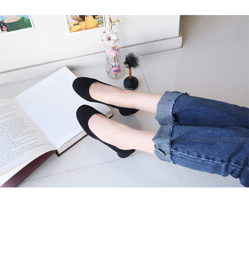 18 new spring and autumn shallow rough suede shoes plus velvet popular shoes low-heeled size women shoes 5