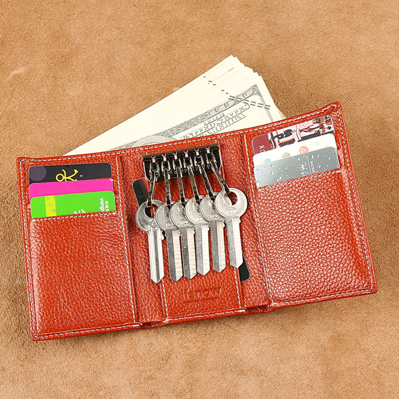 Túi da nam đa năng chìa khóa túi xách túi chìa khóa túi hai trong một cá tính đơn giản thực tế ba túi khóa nữ - Trường hợp chính