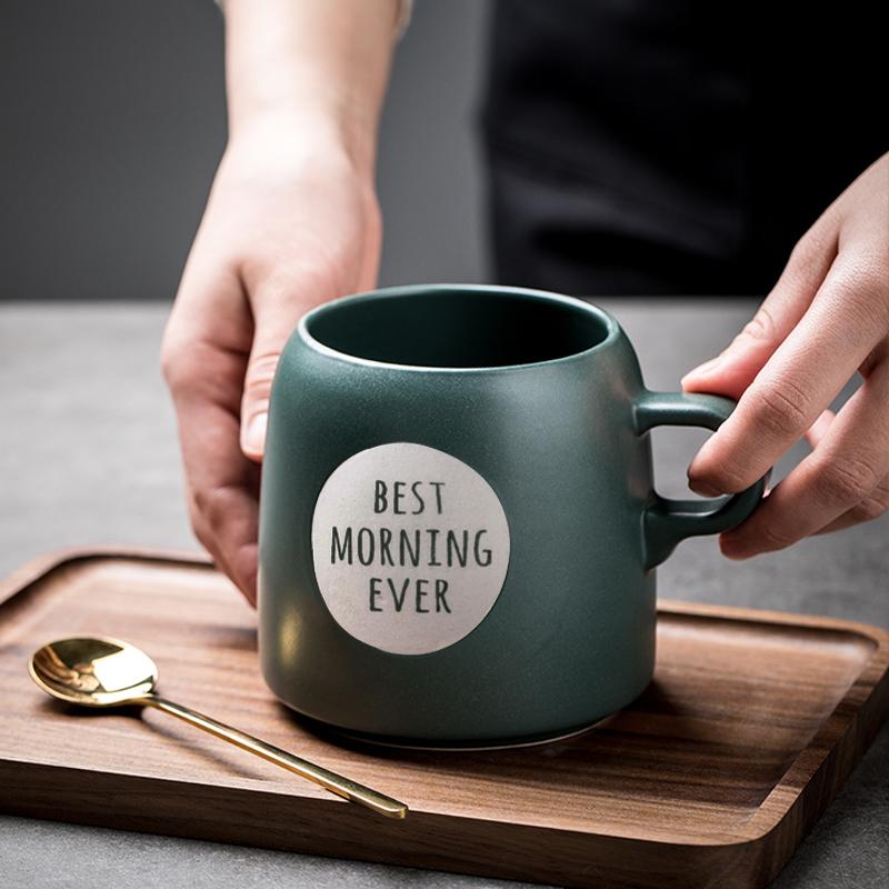 欧式大号马克杯 家用创意大肚杯子早餐燕麦杯 大容量陶瓷杯咖啡杯