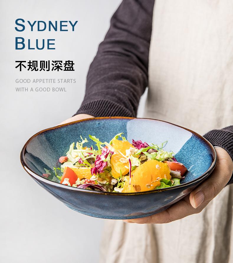 悉尼蓝不规则艺术盘子家用欧式陶瓷餐盘盘子復古风浅碗深盘详细照片