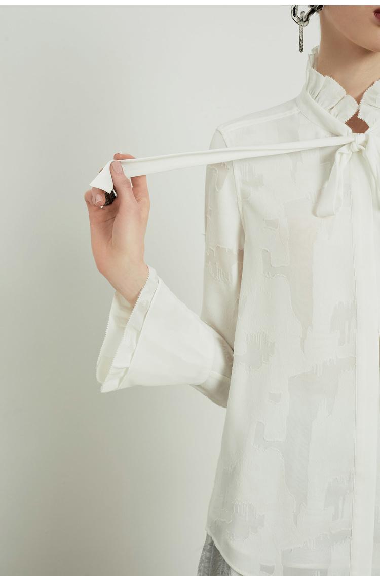 Lily2018秋新款女装系飘带,木耳边,提花面料型直筒衬衫